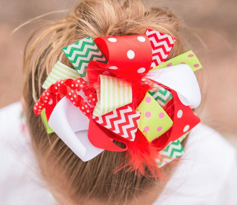 Red Green Lime Chevron Bow