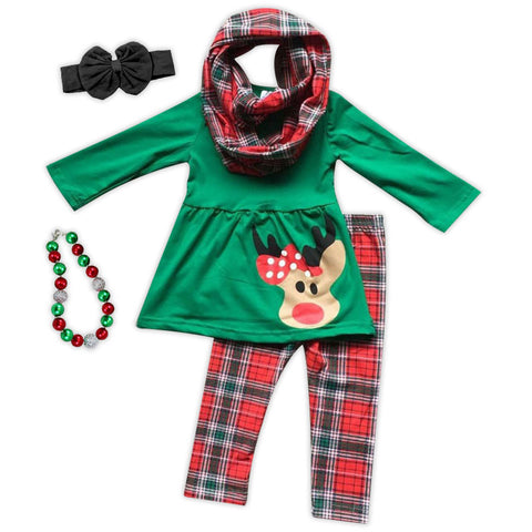 Red Green Plaid Reindeer Shirt Scarf And Pants
