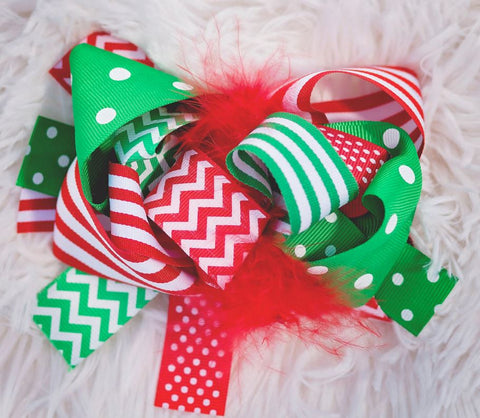 Red Green Polka Bow