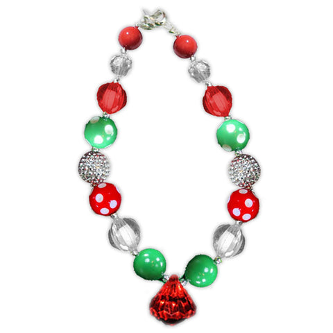 Red Green Polka Red Diamond Necklace