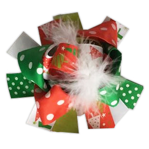 Red Green Polka Tree Hair Bow
