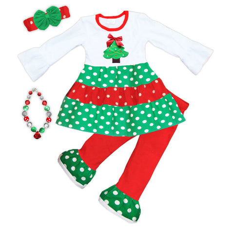 Red Green Polka Tree Shirt And Pants
