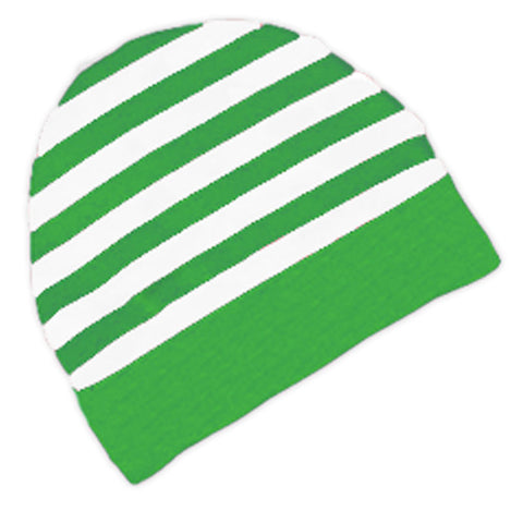 Green Stripe Beenie Hat