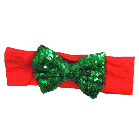 Red Headband Green Sequin Bow