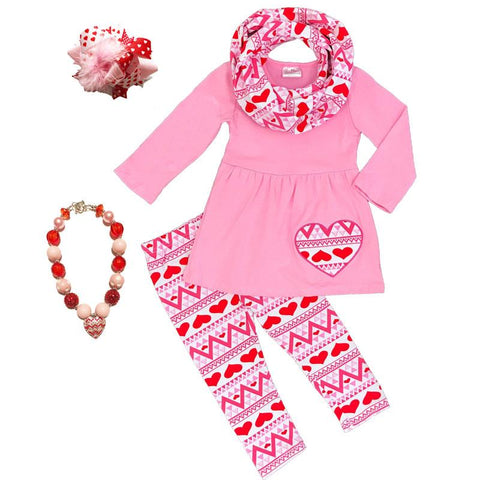 Red Heart Aztect Outfit Pink Top Pants And Scarf