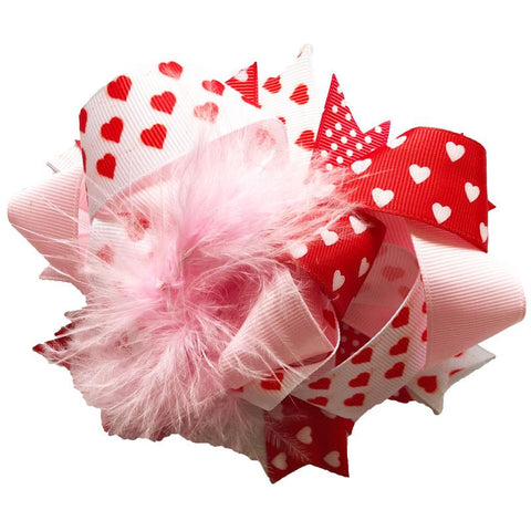 Red Heart Hair Bow Pink Feather Polka Dot