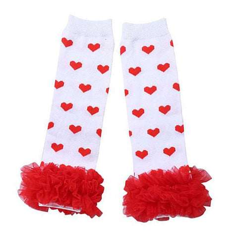 Red Heart Leg Warmers Ruffle White