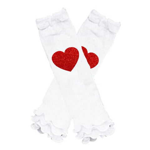Red Heart Leg Warmers Sparkle White Ruffle