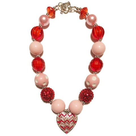 Red Heart Necklace Pink Sparkle Chunky Gumball