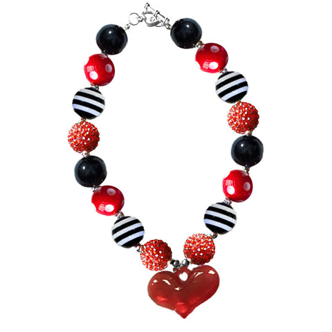 Red Heart Necklace Sparkle Black Stripe