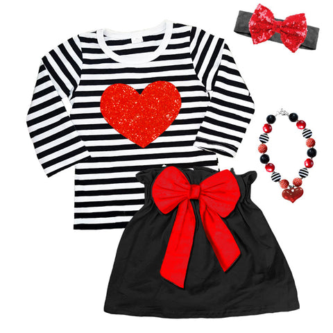 Red Heart Outfit Sparkle Black Stripe Top And Skirt