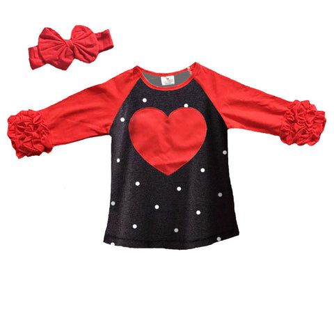 Red Heart Shirt Black Polka Ruffle
