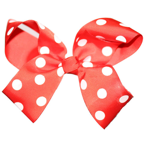 Red Knot Hair Bow White Polka Dot