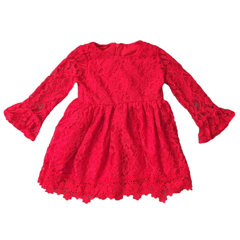 Red Lace Dress Long Sleeve