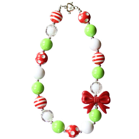 Red Lime Green Necklace White Polka Dot Bow