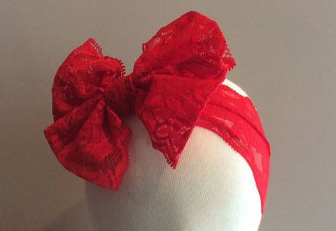 Red Messy Bow Lace Headband