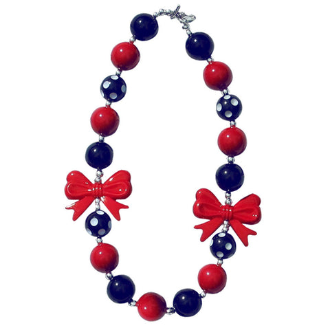 Red Navy Polka Bow Necklace
