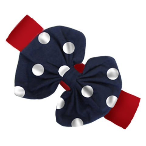 Red Navy Polka Messy Bow Headband