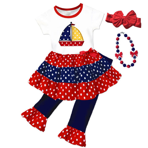 Red Navy Polka Sailboat Top And Capri