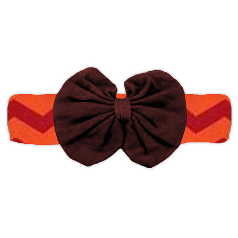 Red Orange Brown Messy Bow Headband