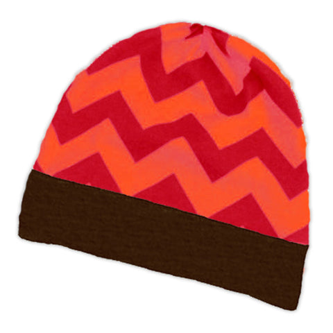Red Orange Chevron Brown Beenie Hat