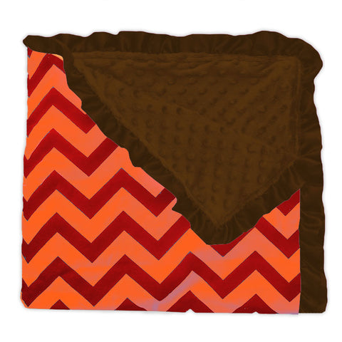 Red Orange Chevron Brown Minky Blanket