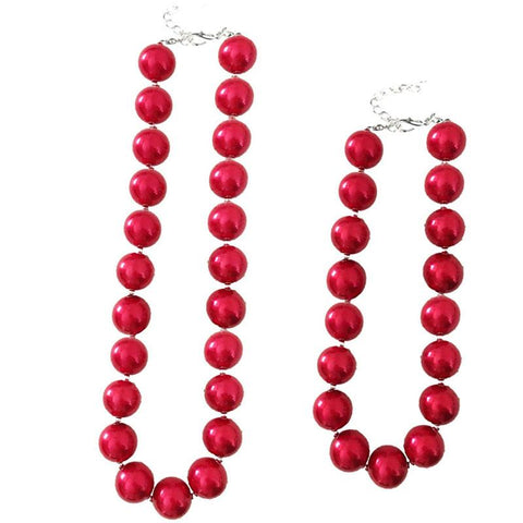 Red Ornament Pearl Necklace Chunky Gumball