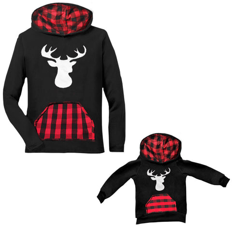 Red Plaid Deer Hoodie Buffalo Black