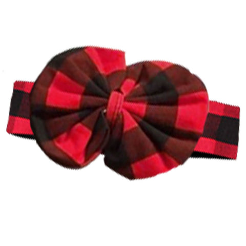 Red Plaid Headband Black Buffalo Messy Bow