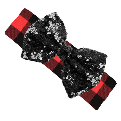 Red Plaid Headband Buffalo Black Sequin Bow