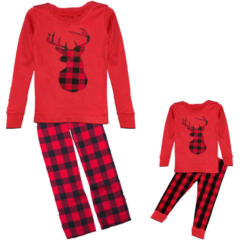 Red Plaid Pajamas Deer Black Buffalo
