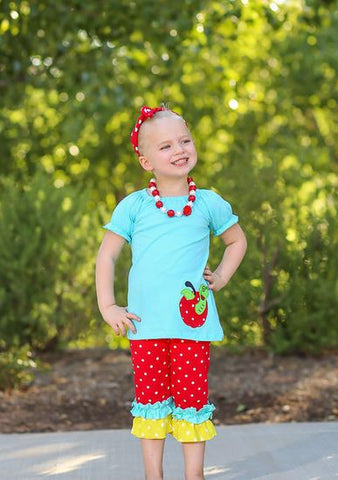 Red Polka Apple Ruffle Capri Set