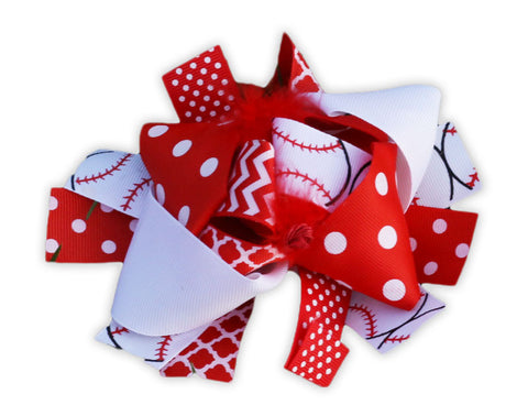 Red Polka Baseball Bow