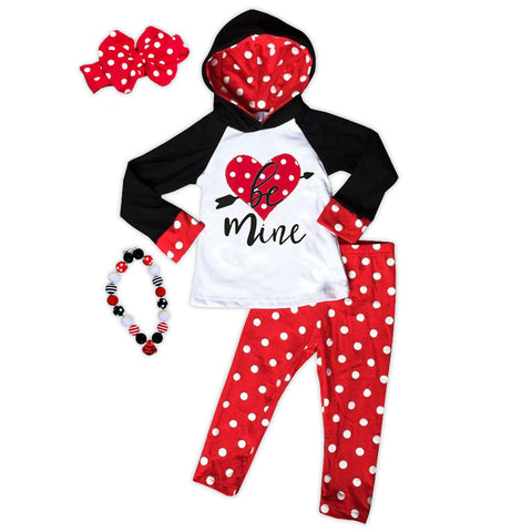 Red Polka Be Mine Hoodie And Pants