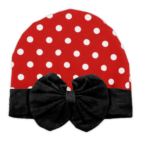 Red Polka Black Bow Beenie Hat