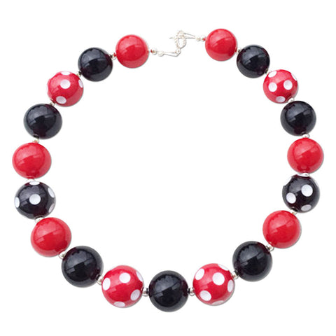 Red Polka Black Necklace