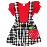 Red Polka Dot Apple Outfit Black Houndstooth Top And Jumper
