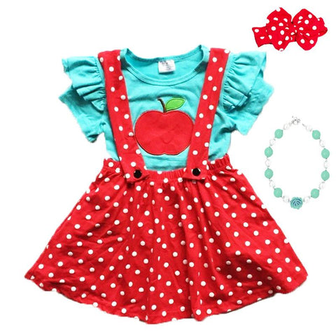 Red Polka Dot Apple Outfit Teal Top And Jumper