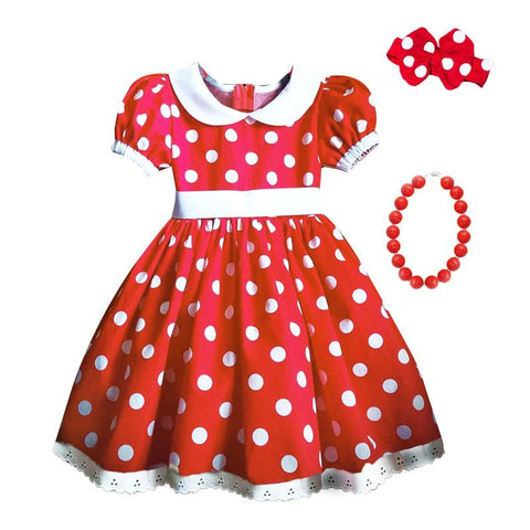Red Polka Dot Dress Lace Costume