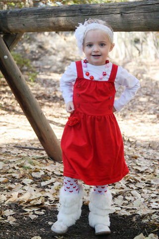 Red Polka Flower Jumper Dress