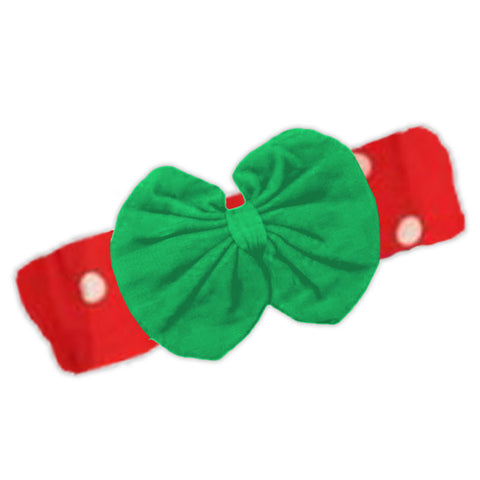 Red Polka Green Messy Bow Headband
