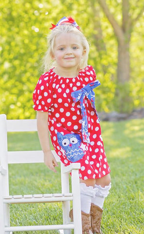 Red Polka Sequin Owl Dress