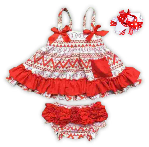 Red Ruffle Baseball Two Piece