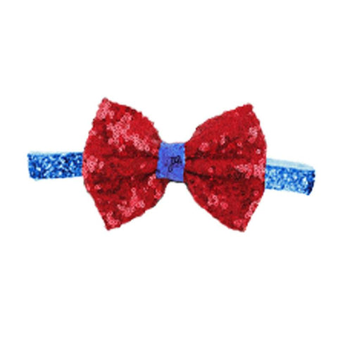 Red Sequin Bow Blue Headband