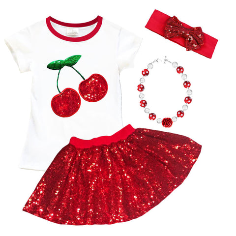 Red Sequin Cherry Top And Skirt