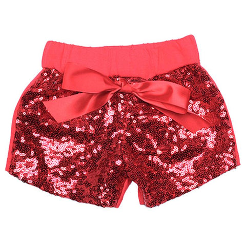 Red Sequin Shorts Bow