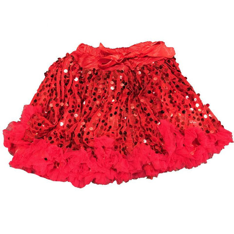 Red Sequin Tulle Skirt Ruffle