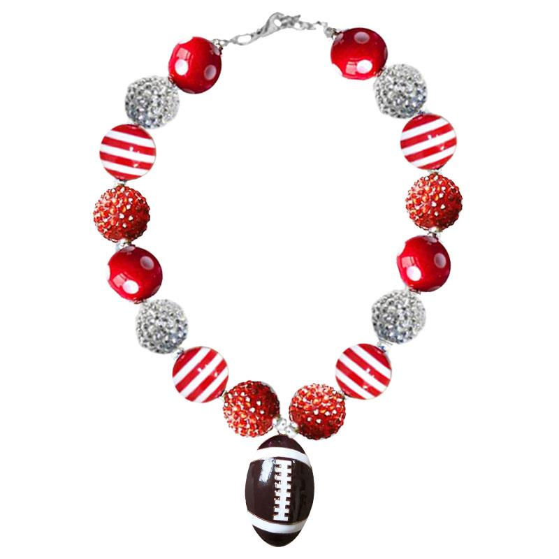 Red Silver Football Necklace Polka Dot Stripe Chunky Gumball