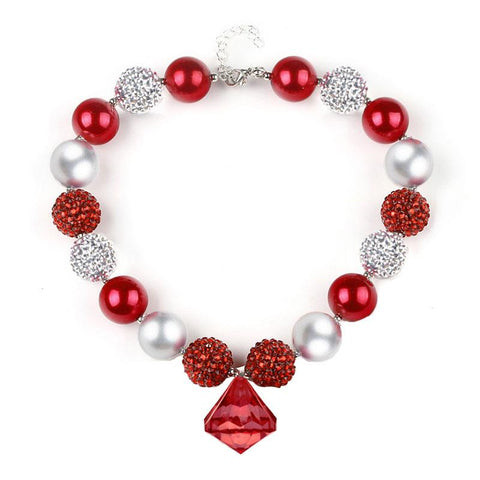 Red Silver Sparkle Necklace Diamond Chunky Gumball