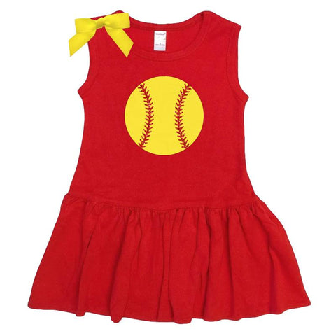 Red Softball Ruffle Tank Dress Sparkle Bow